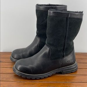 UGG Brooks Black Suede Leather Boots SZ 7 BIN8
